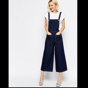ASOS Dungaree With Wide Leg And Contrast Stitching